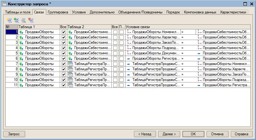 v8.2 УП: Конструктор запросов схемы компоновки данных.