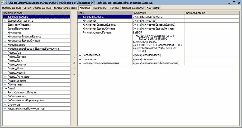 v8.2 УП: Конструктор схемы компоновки данных - Закладка Ресурсы.